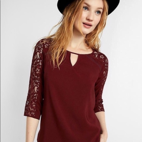Express Tops - Express Maroon Lace Sleeve Blouse Keyhole Front